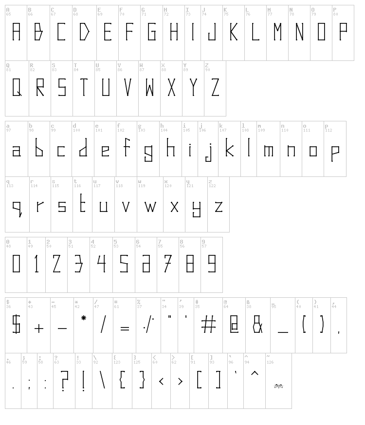 Dots and Lines font map