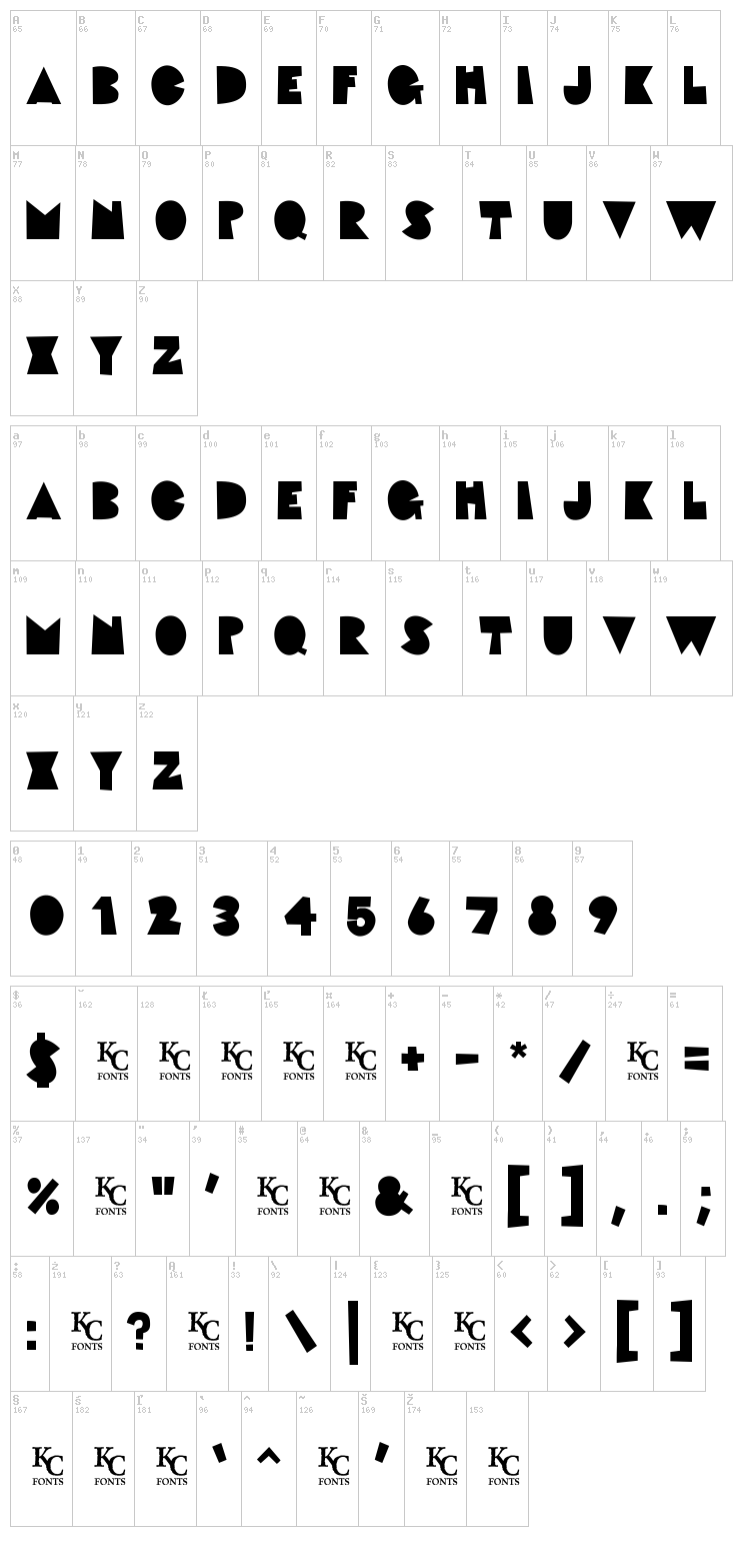 Fat Cat font map