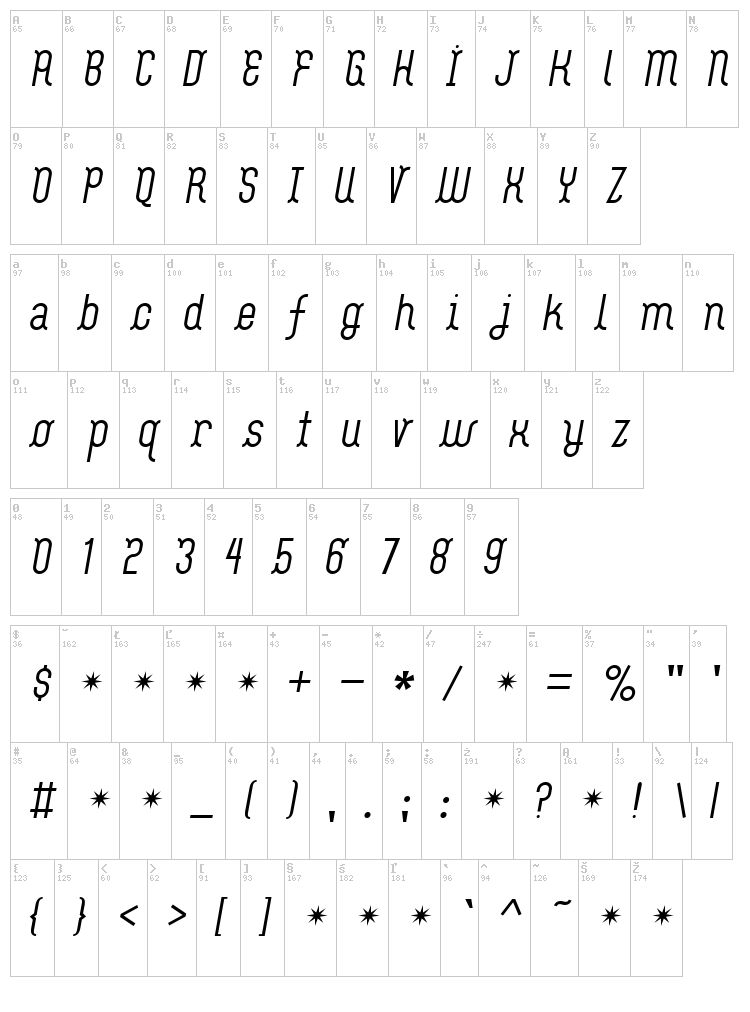 Flash Boy font map