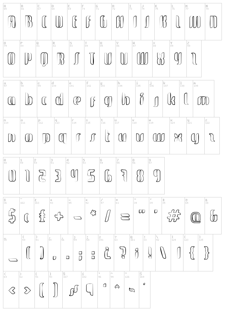 Glide Sketch Sketch font map