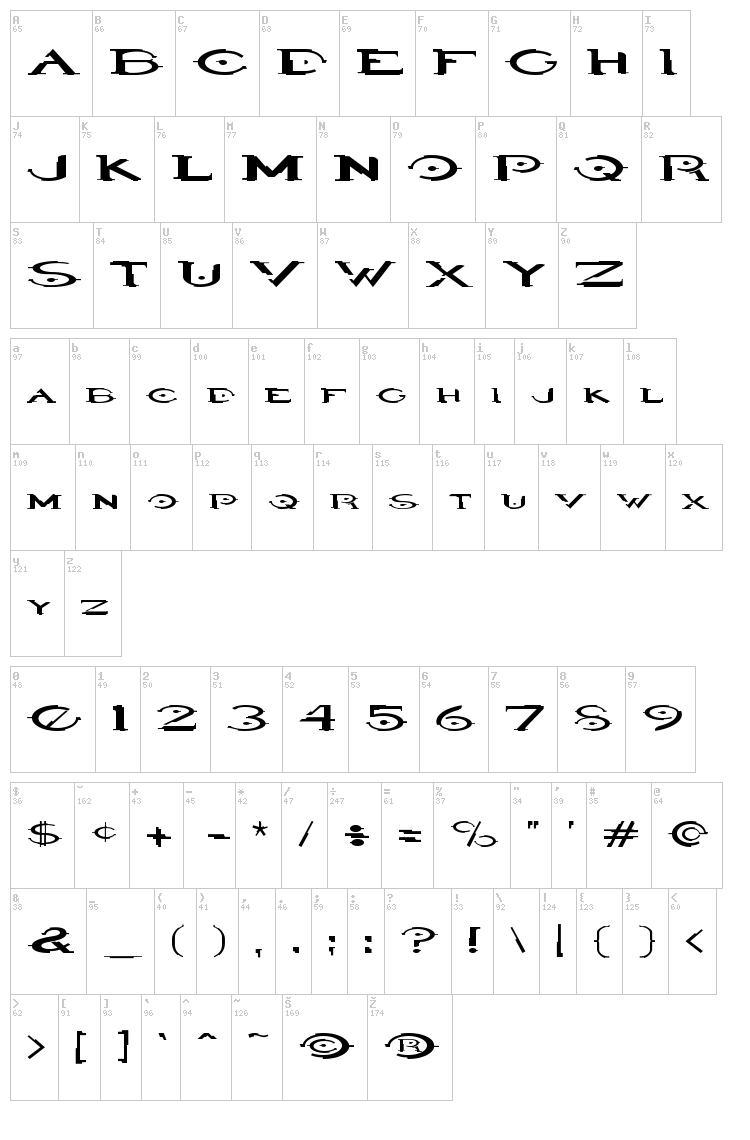 Halo font map
