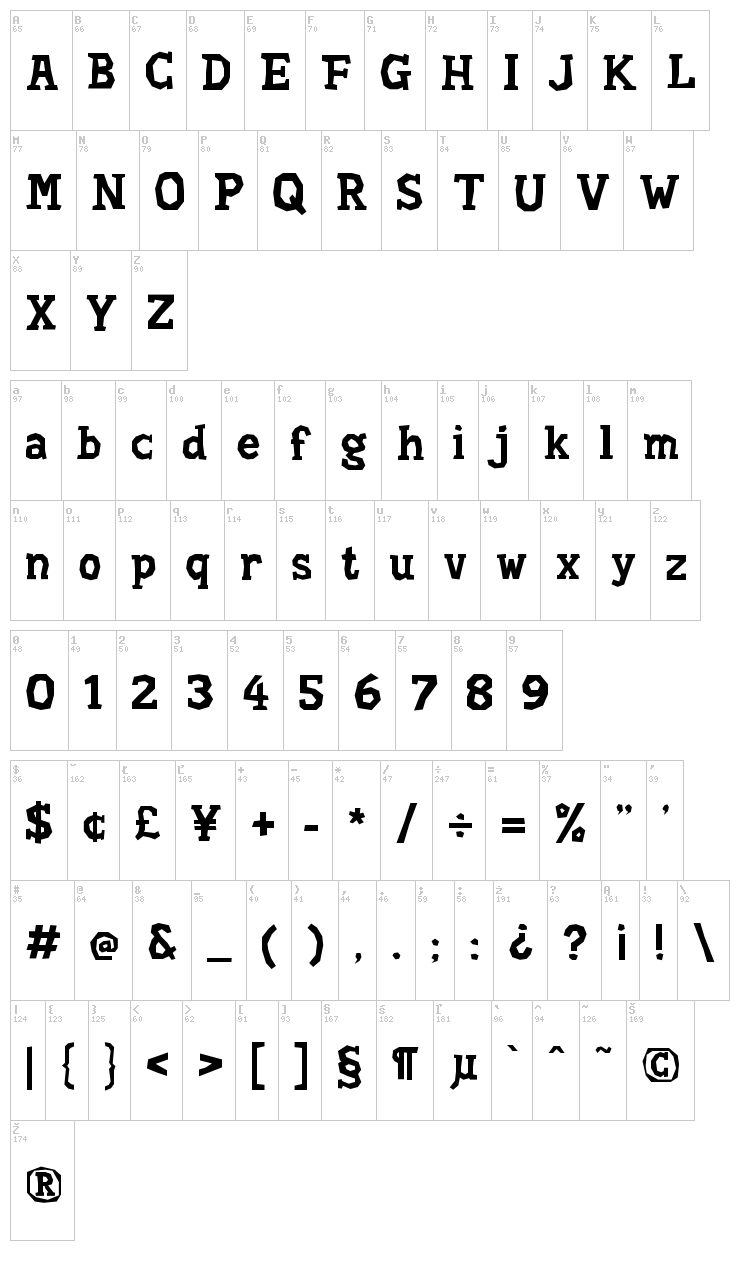 Hard Compound font map