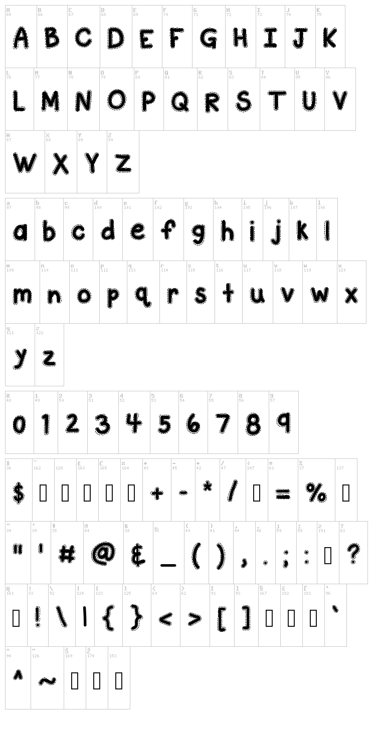 KB A Stitch In Time font map