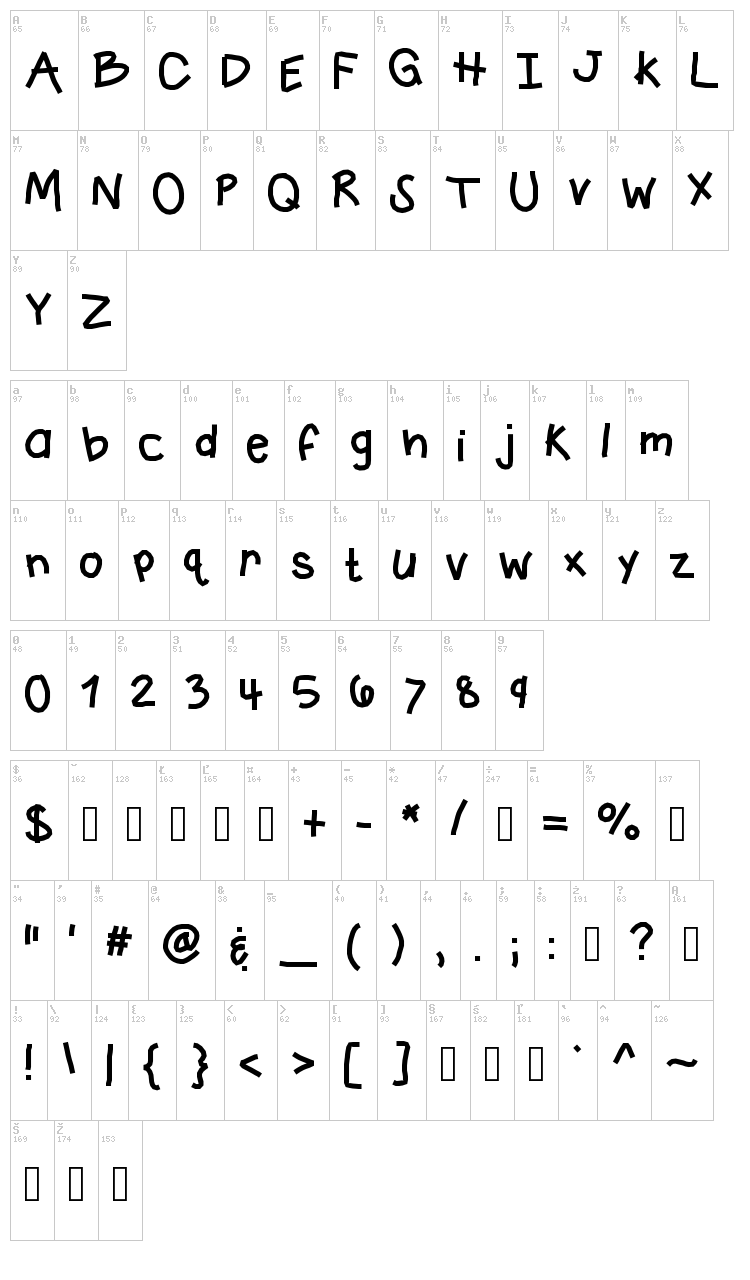 KB Crazy Town font map