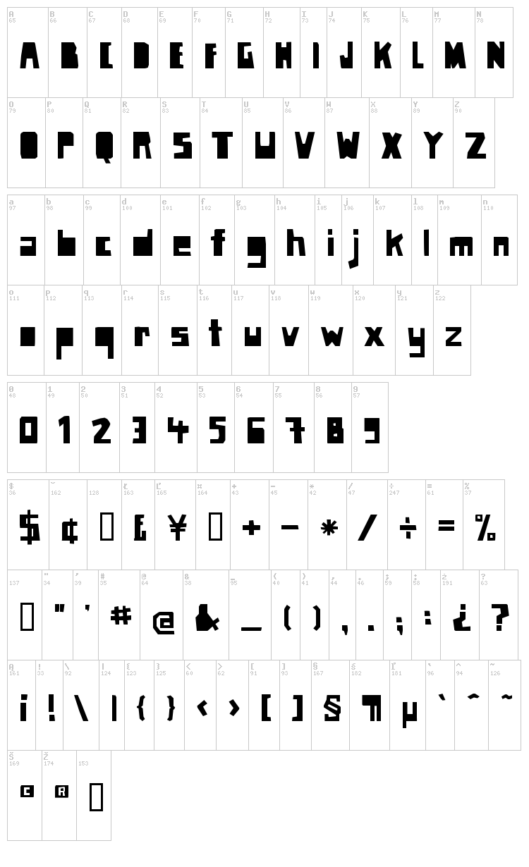 Paper Johnny font map