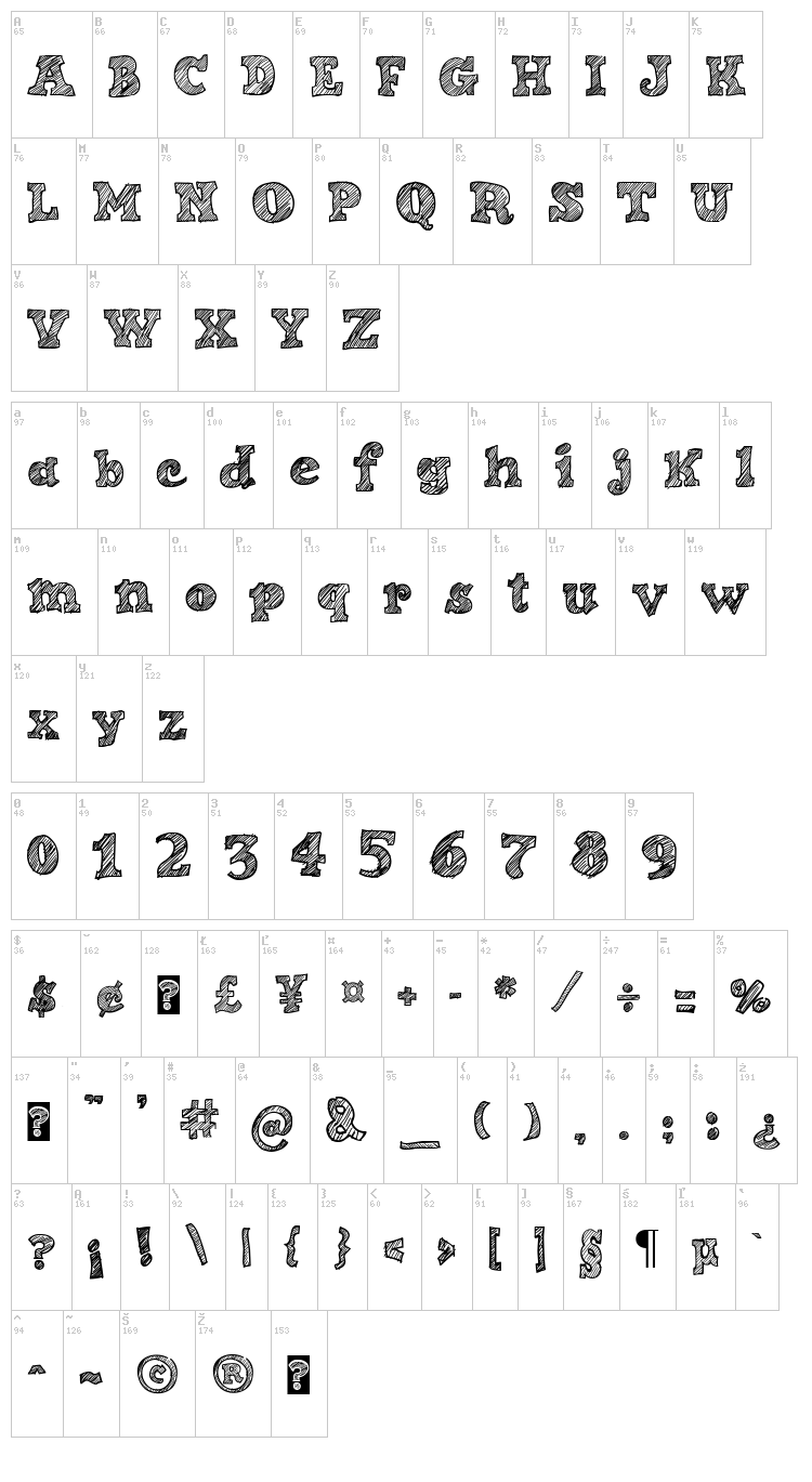 Sketch Nice font map