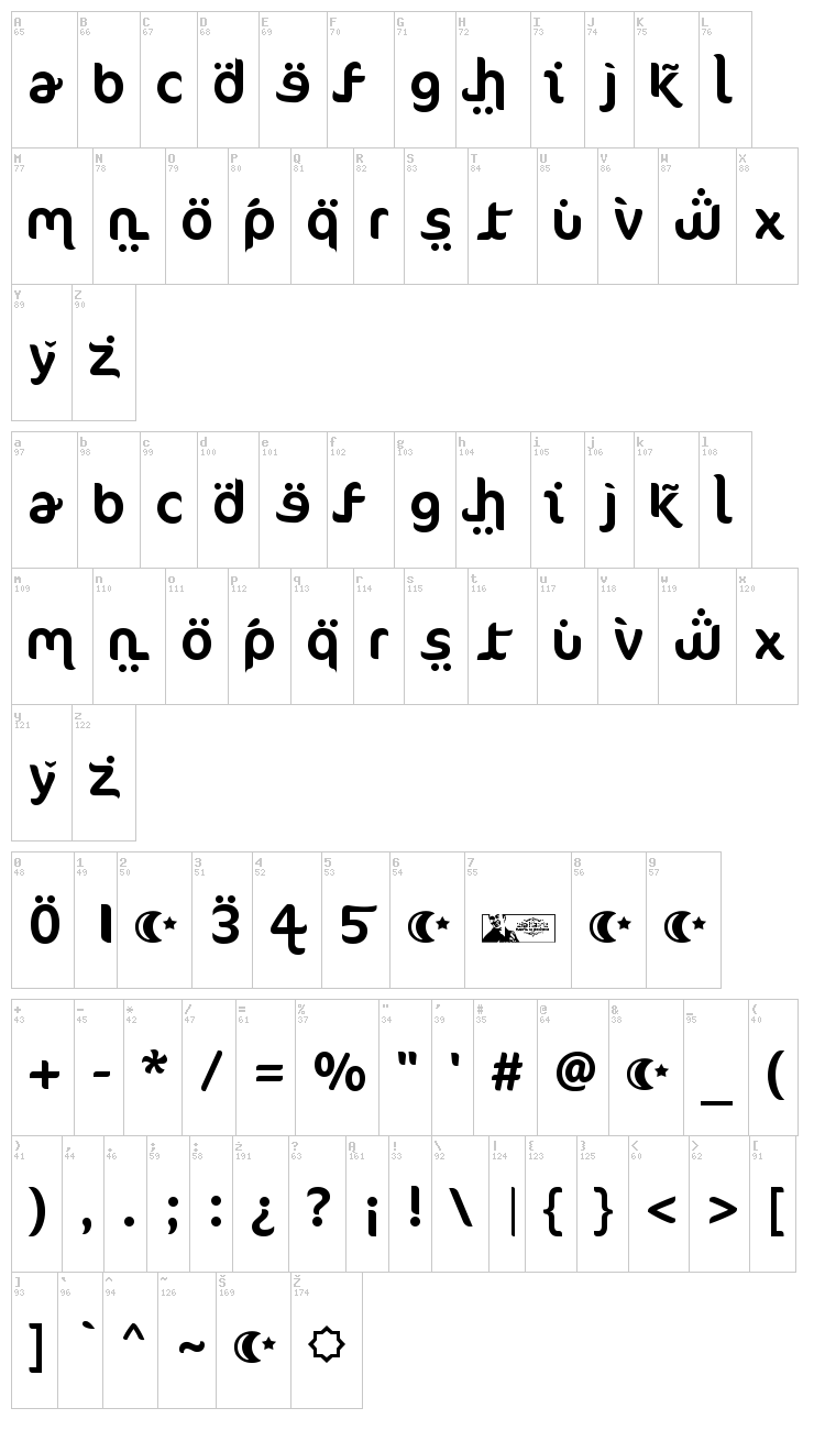 FTF Ahlan Ve Arabez font map