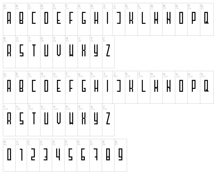 Henzy font map