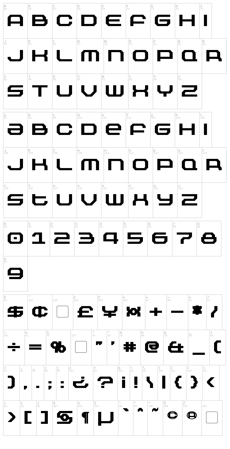 Outland font map