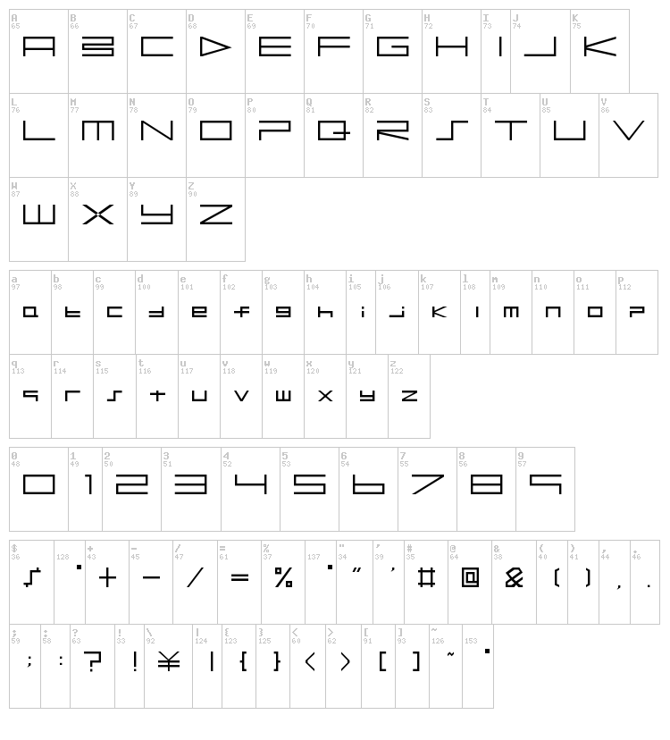 BTSE PS2 font map