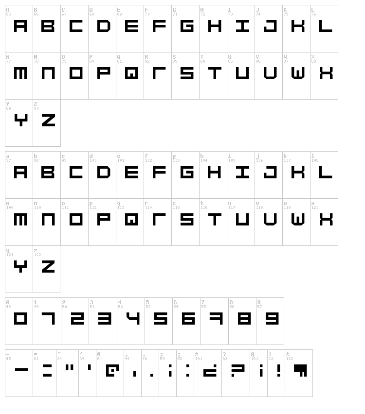 Simply Mono font map