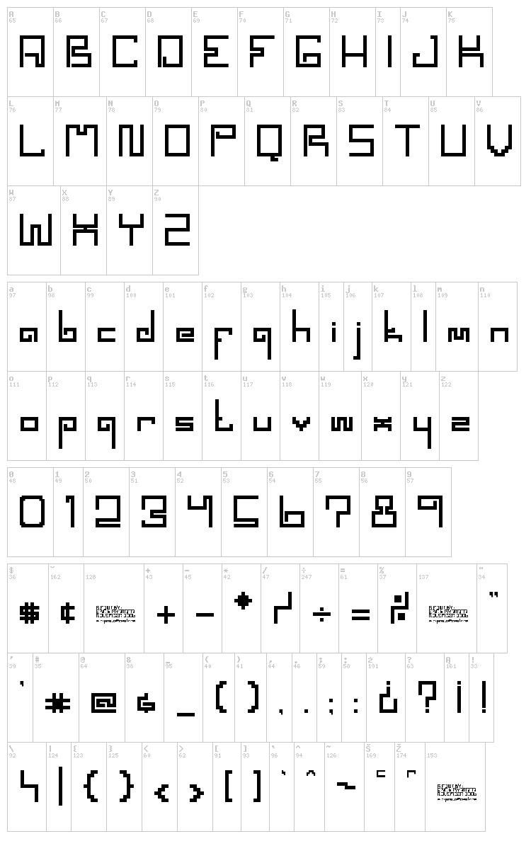 Spaceworm font map