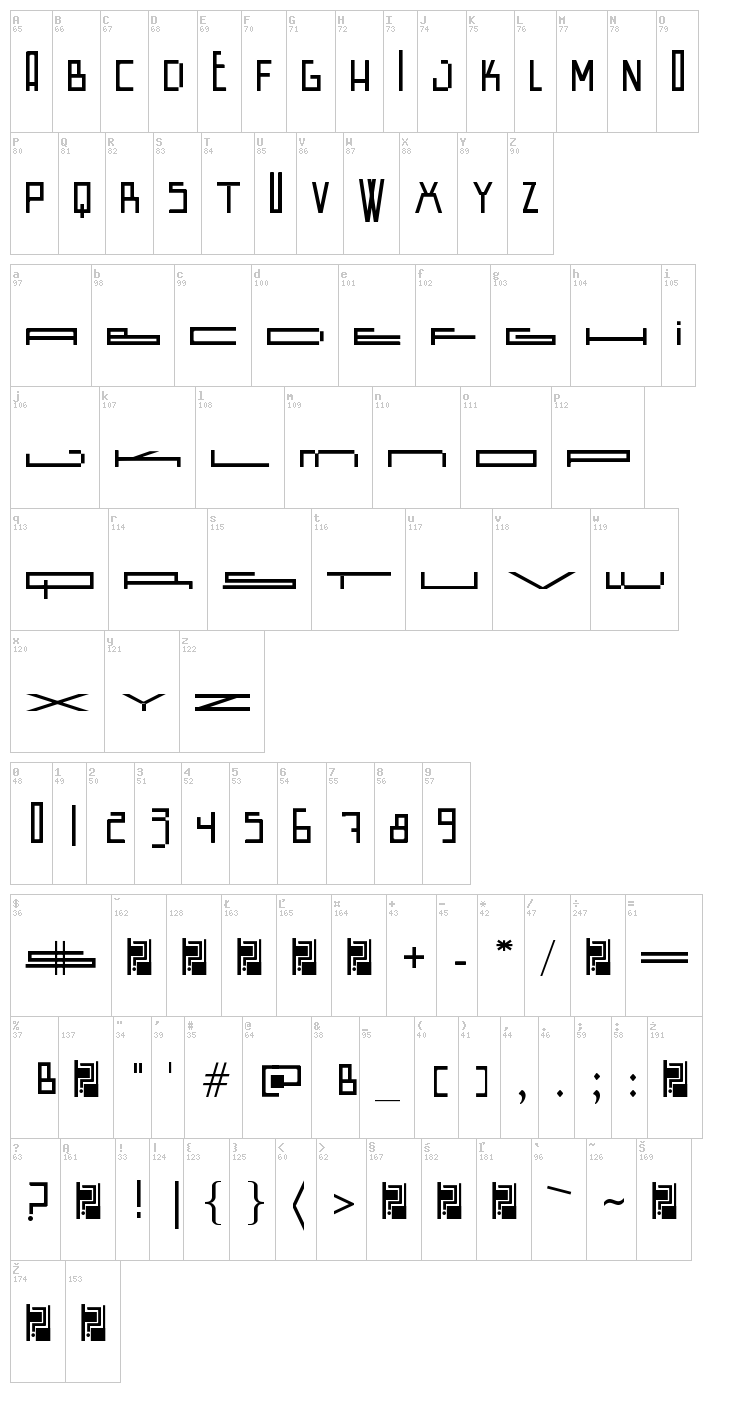 Wide Square font map