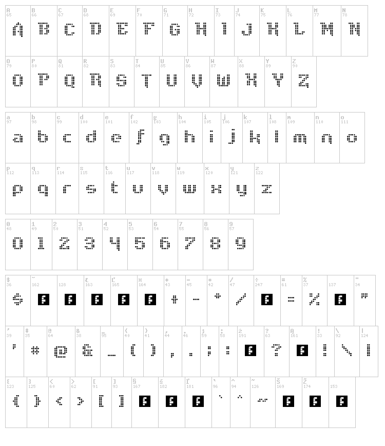 Disco Nectar font map