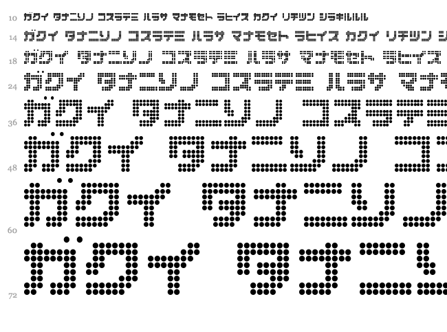 Dot Special + Kana font waterfall