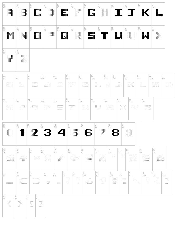 Game Power font map
