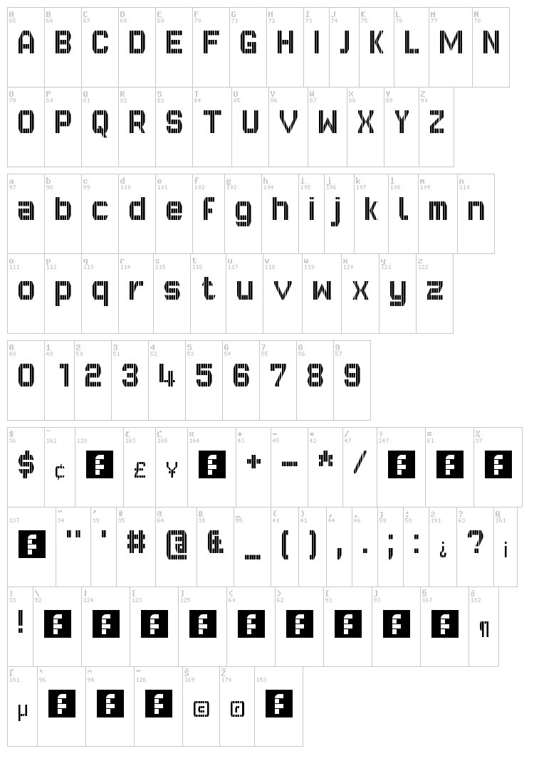 GVB Bus PID 10x7 font map
