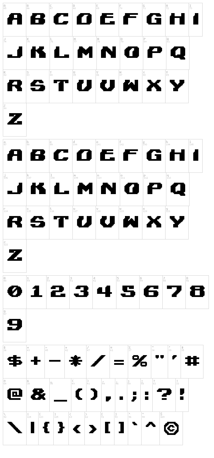 Lightman font map