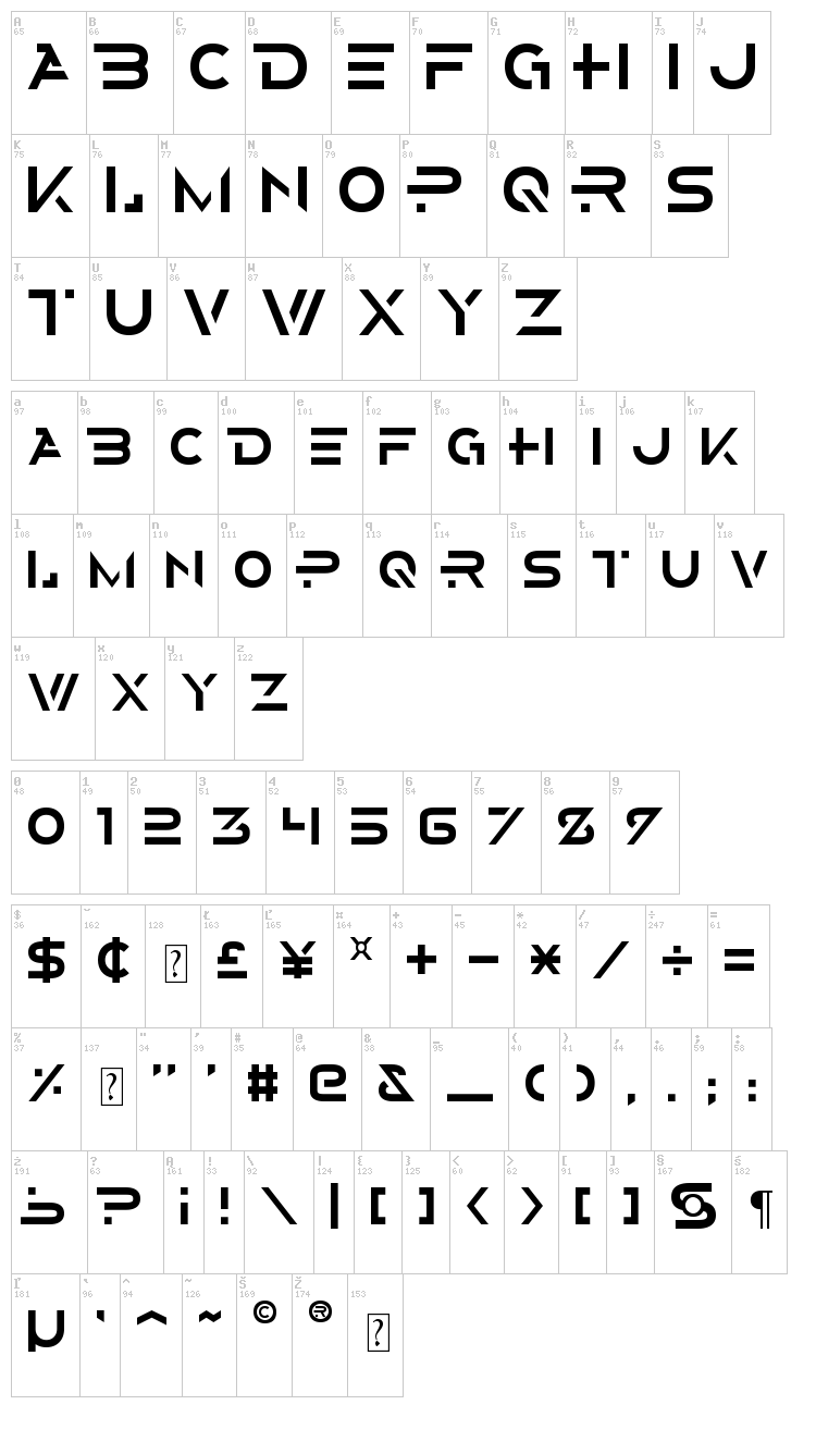 Alternity font map