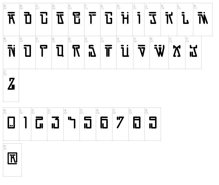 Dirty Vega font map