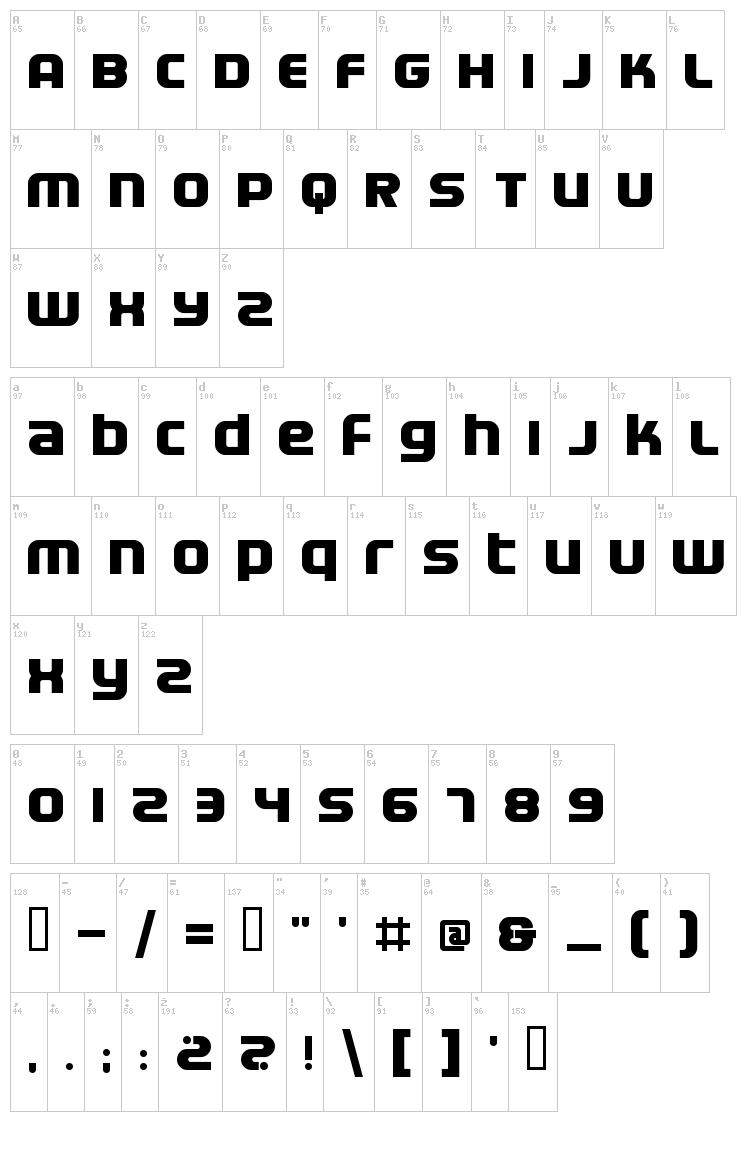 Electrofied font map