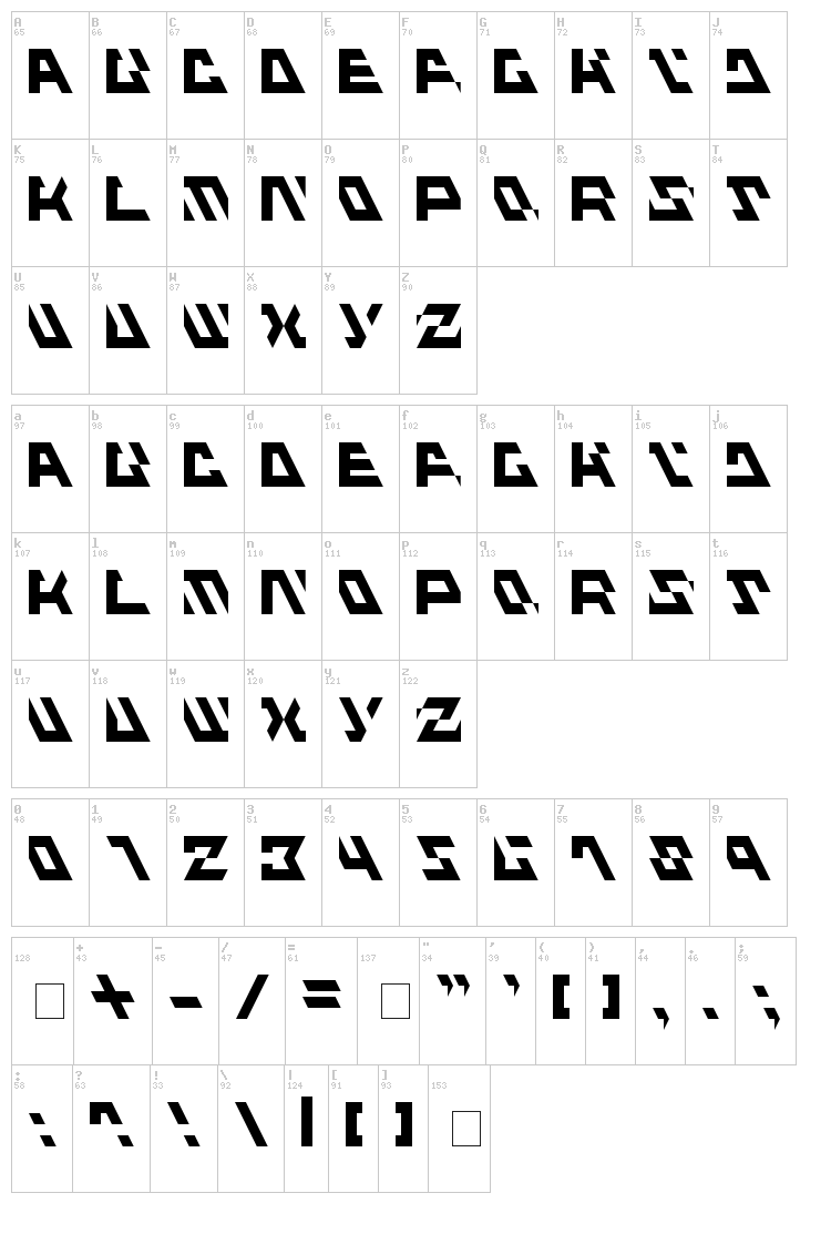 Fluxious Advance font map