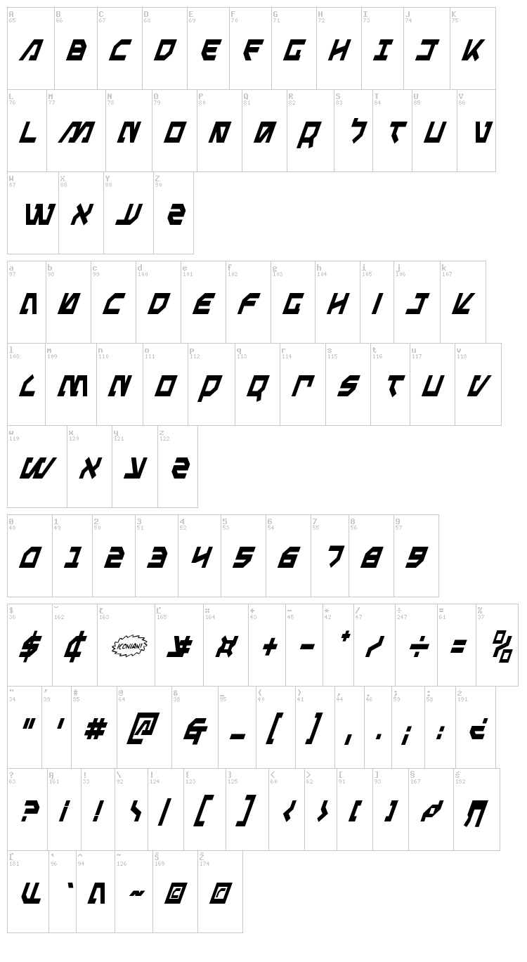 Metalstorm font map
