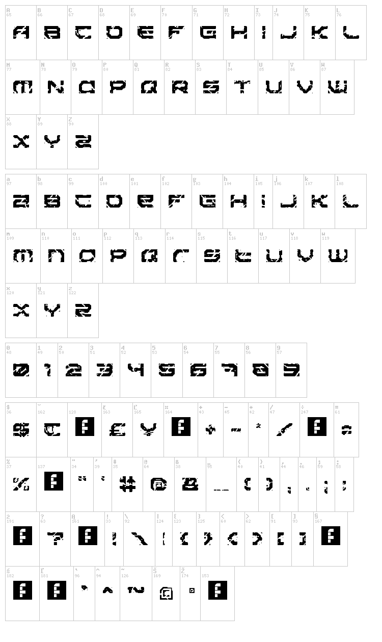 Sector 017 font map