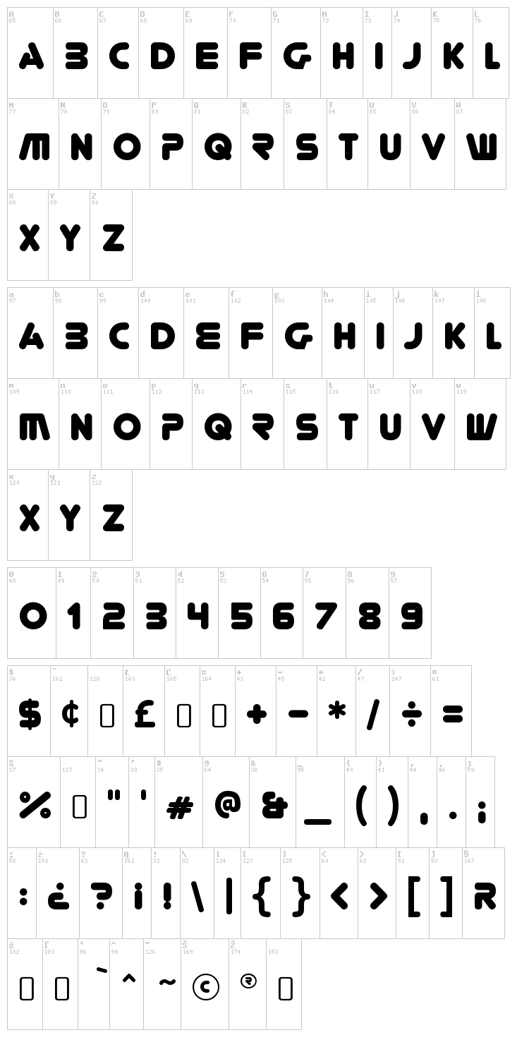 You're Gone font map