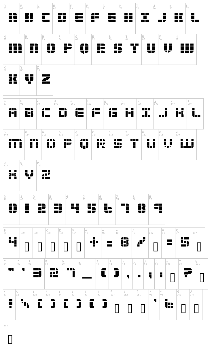 2 Tech font map
