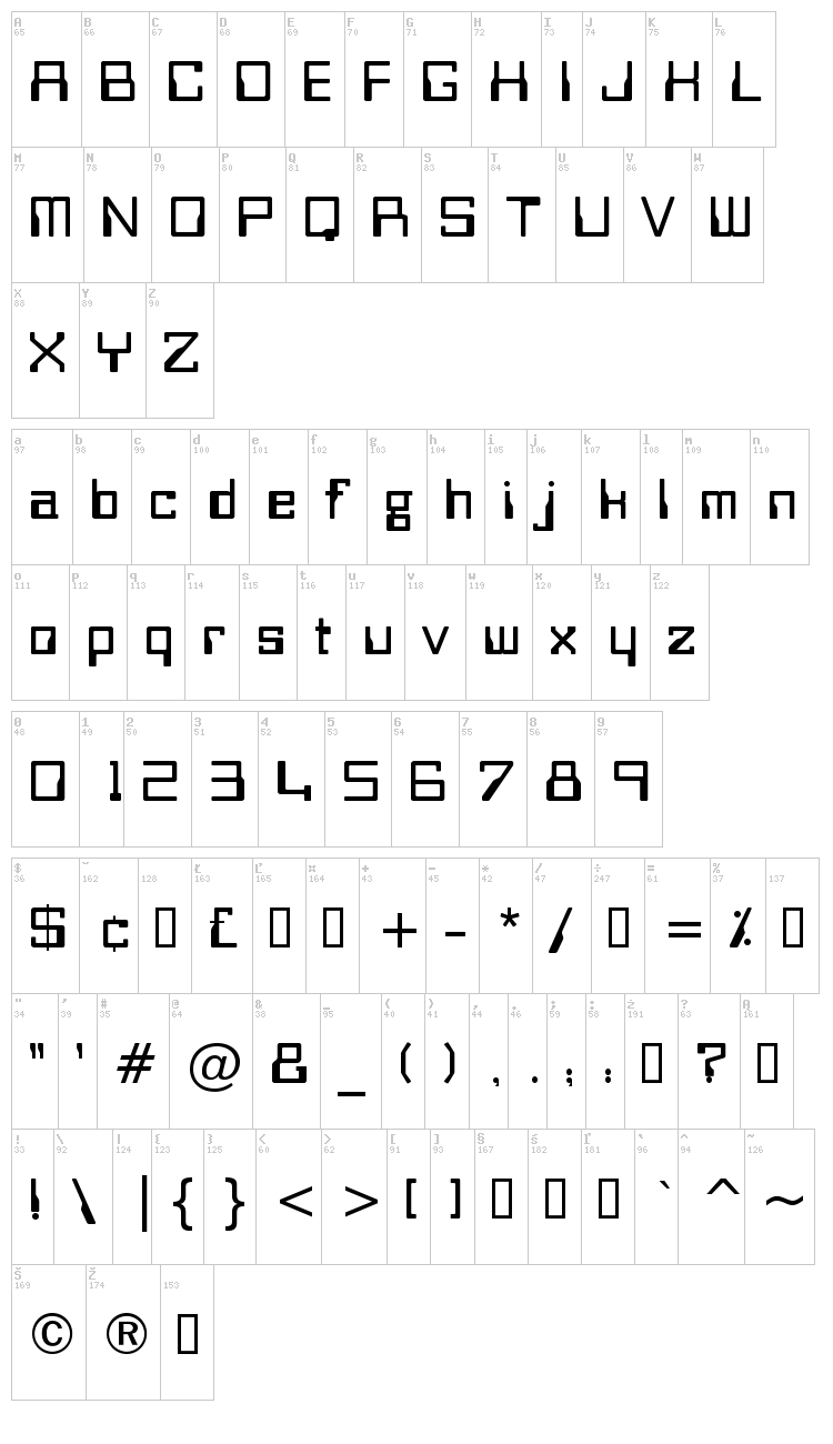 Bitwise font map