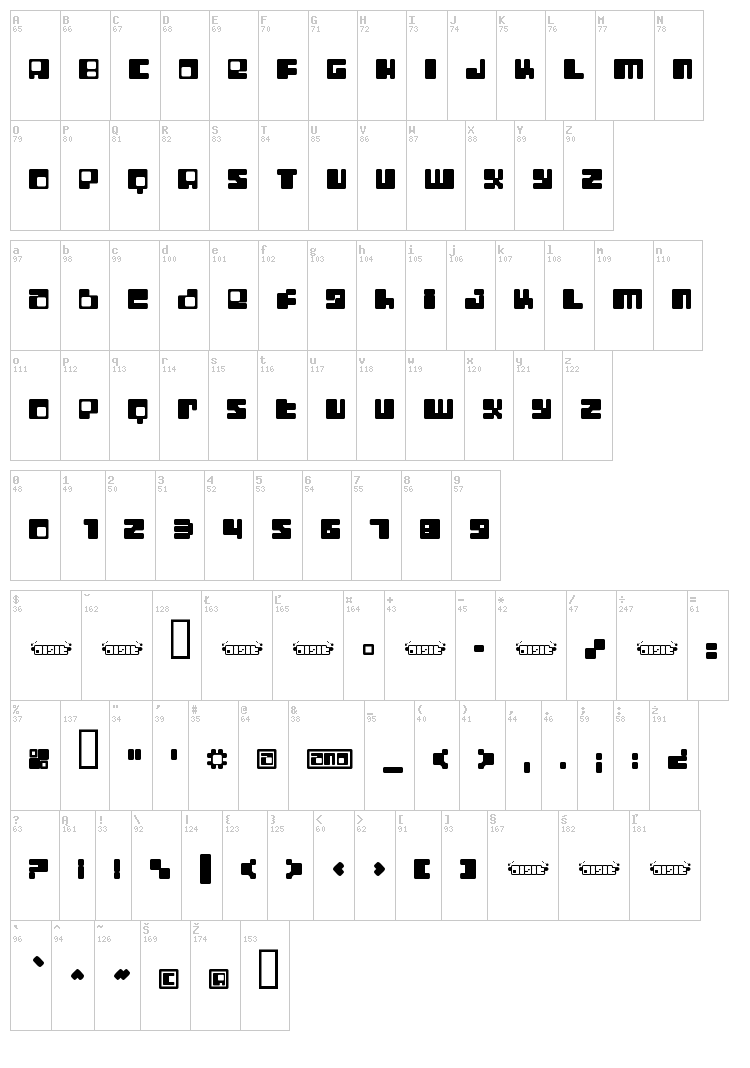 Digit Lo-Fi font map