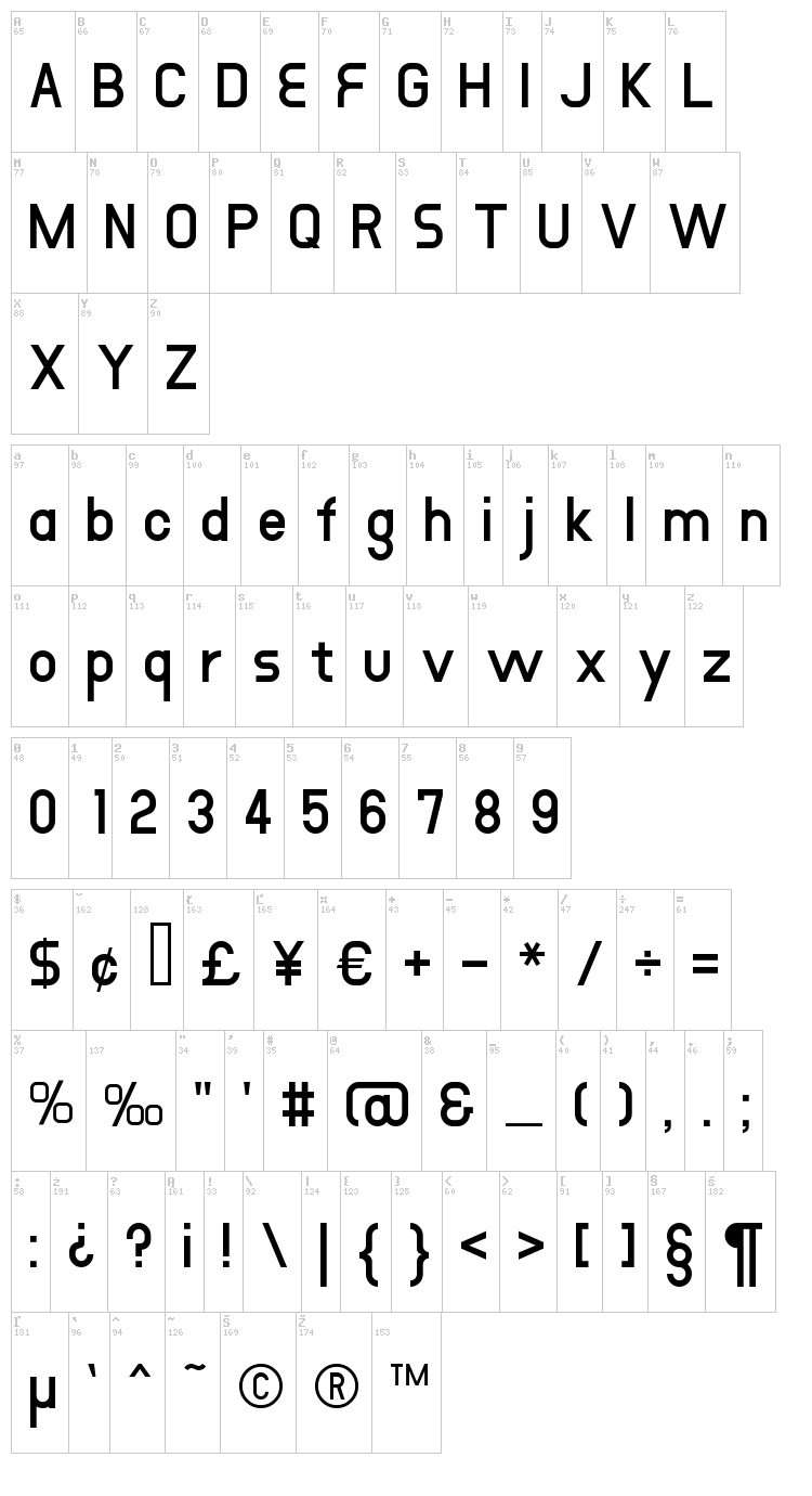 DustHome font map