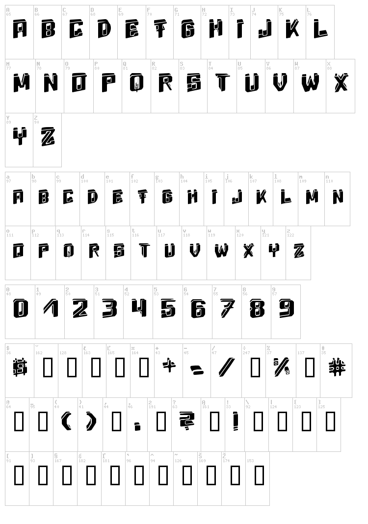 Energy Dimension font map