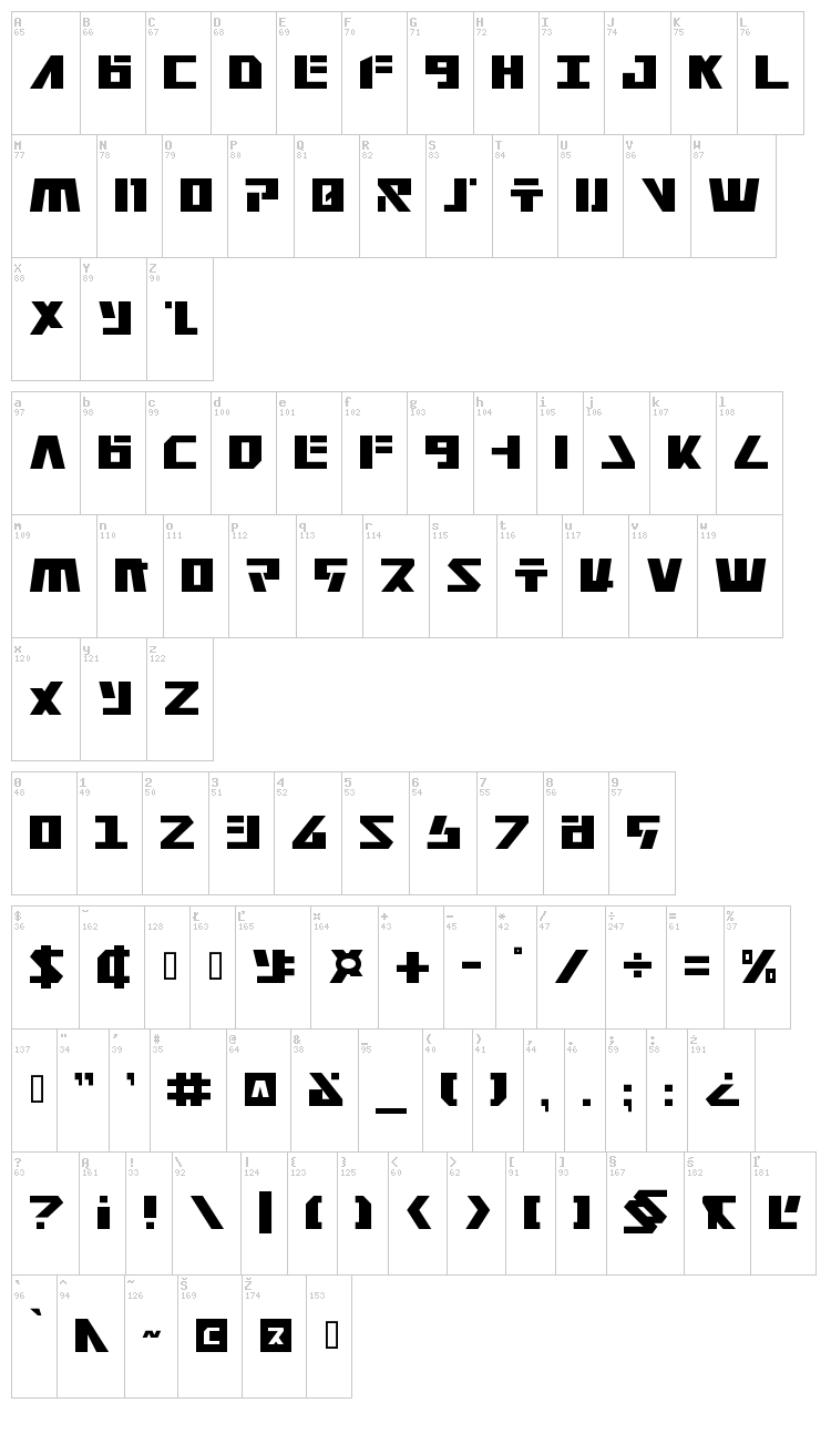 Falconhead font map