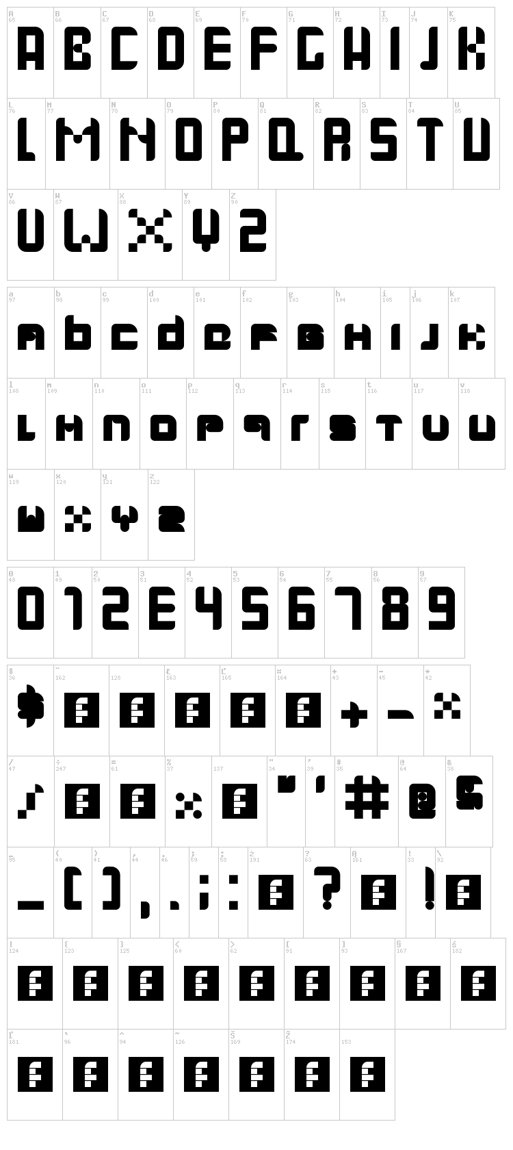 Gallardo font map