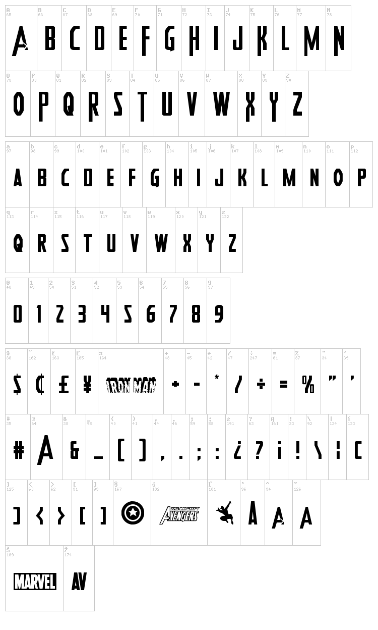 Heroes Assemble font map