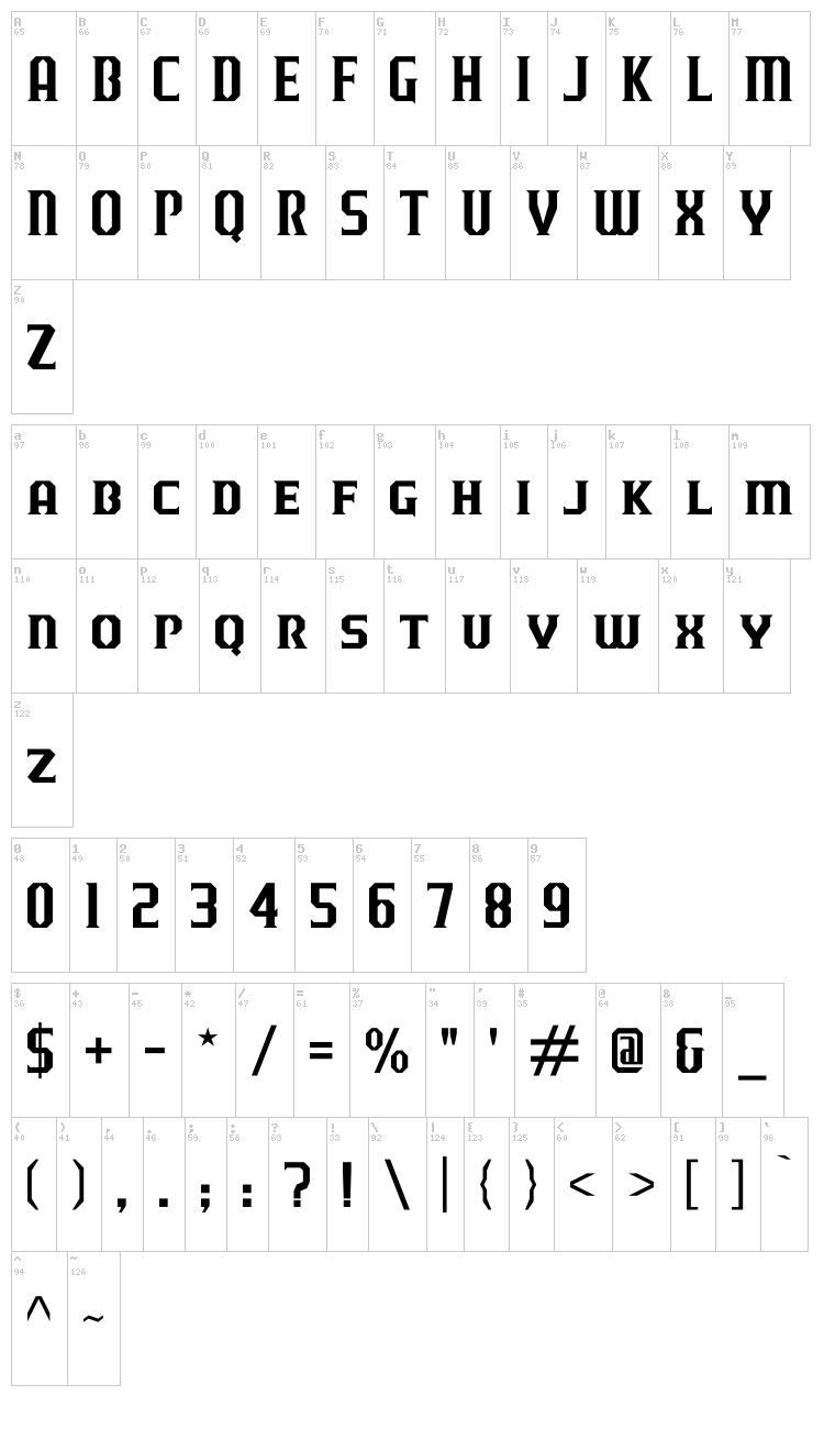 J-LOG Razor Edge font map