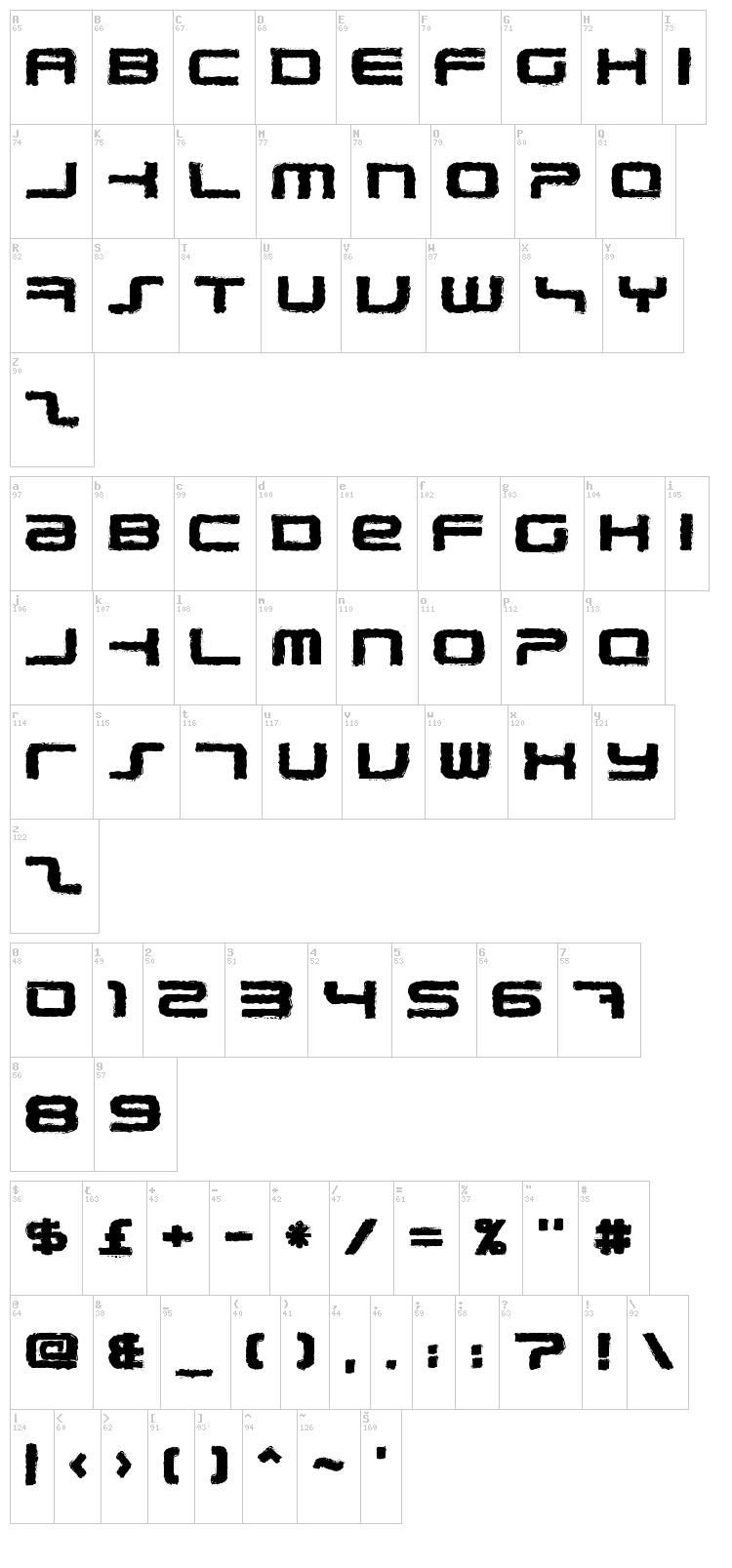 PhatBoy Slim Rough font map