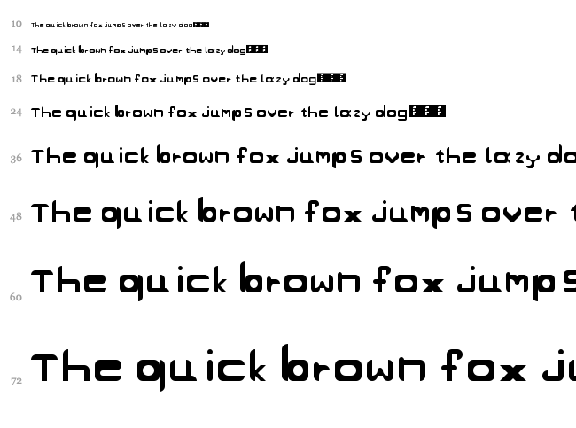 Project's Goodies font waterfall