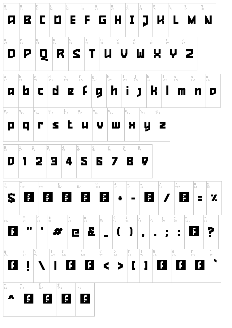Quizzical Pitch font map