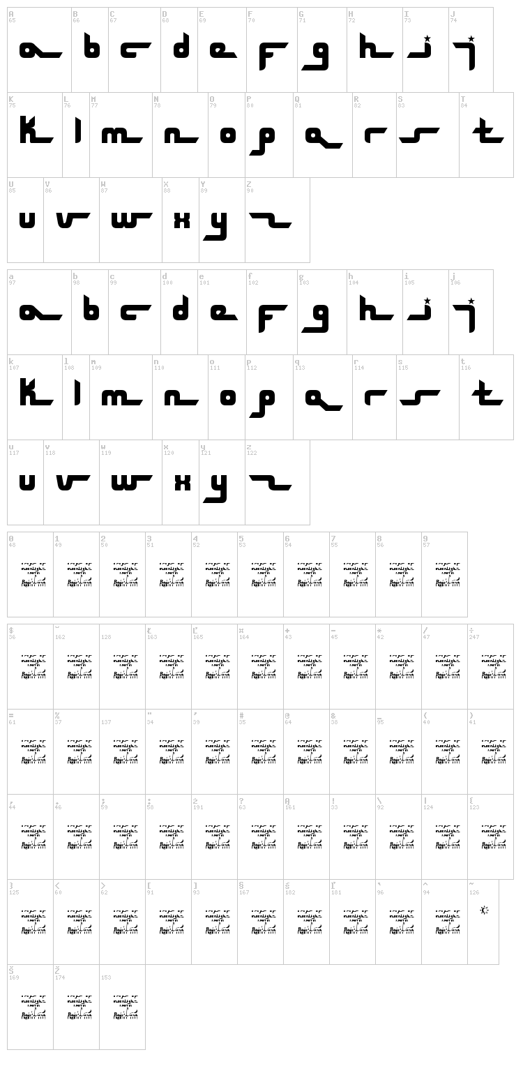 SL Drops Of Moonlight font map
