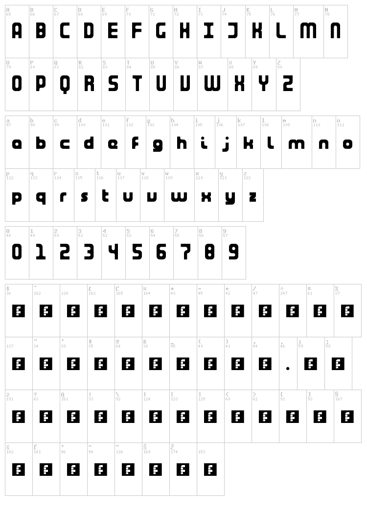 Tuning Fork font map