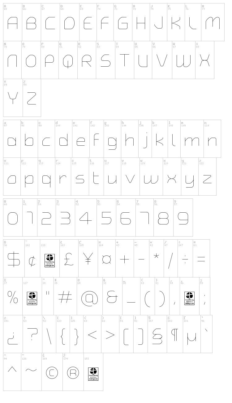 Typo Angular Rounded font map
