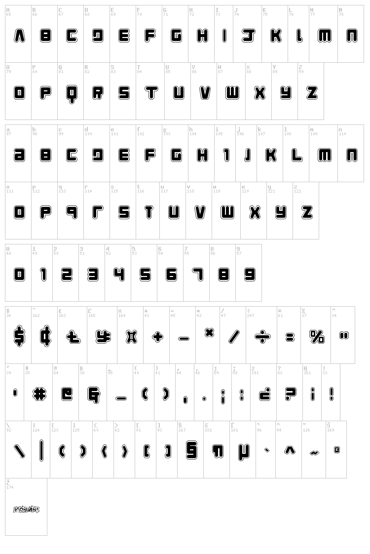 Young Techs font map