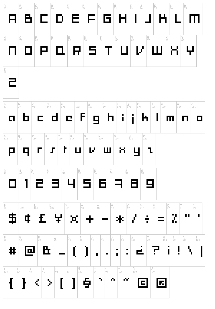 Moonracer font map