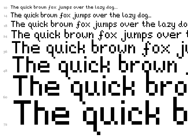 Pixeljosh6 font waterfall