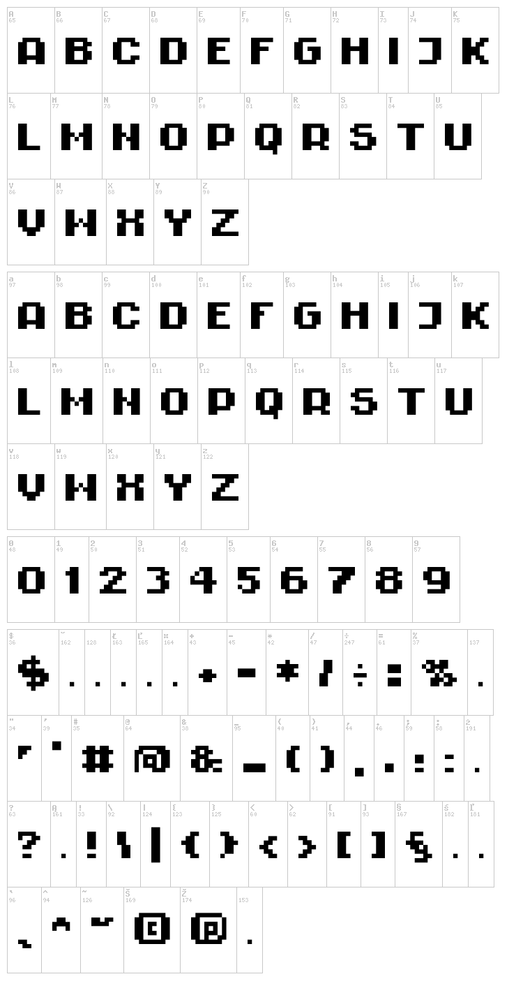 Rittswood Impresive font map