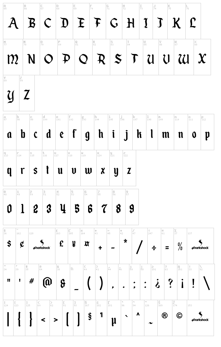 Enchanted Land font map