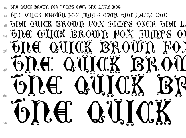 Curled Serif font waterfall